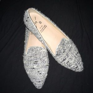 KMB Anthropologie gray tweed pointed toe loafer 40